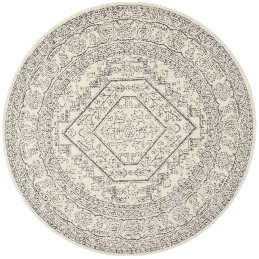 Safavieh Adirondack Herati Ivory/Silver Round Indoor Machine-made Lodge Area Rug (Common: 7 x 7; Actual: 6.583-ft W x 6.583-ft L x 6.583-ft Dia)