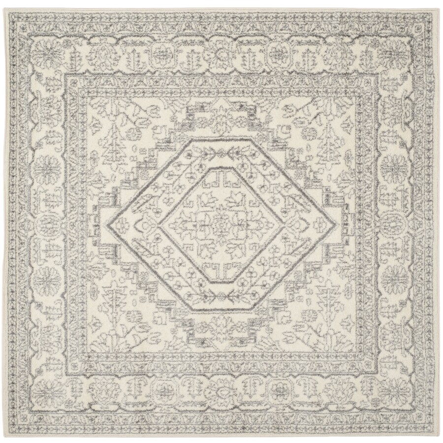 Safavieh Adirondack Herati Ivory/Silver Square Indoor Machine-made Lodge Area Rug (Common: 9 x 9; Actual: 9-ft W x 9-ft L)