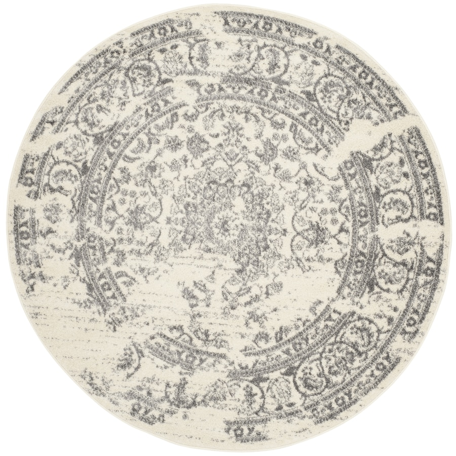 Safavieh Adirondack Ivory/Silver Round Indoor Machine-Made Area Rug (Common: 9 x 9; Actual: 9-ft dia)