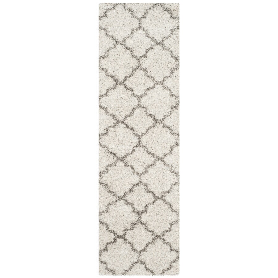 Safavieh Hudson Theron Shag Ivory/Gray Indoor Moroccan Runner (Common: 2 x 6; Actual: 2.25-ft W x 6-ft L)