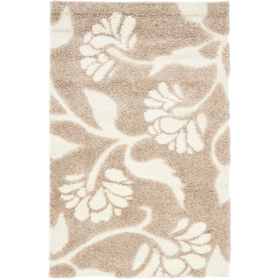 Safavieh Florida Shag Beige/Cream Rectangular Indoor Machine-Made Tropical Throw Rug (Common: 2 x 4; Actual: 2.25-ft W x 4-ft L x 0-ft Dia)