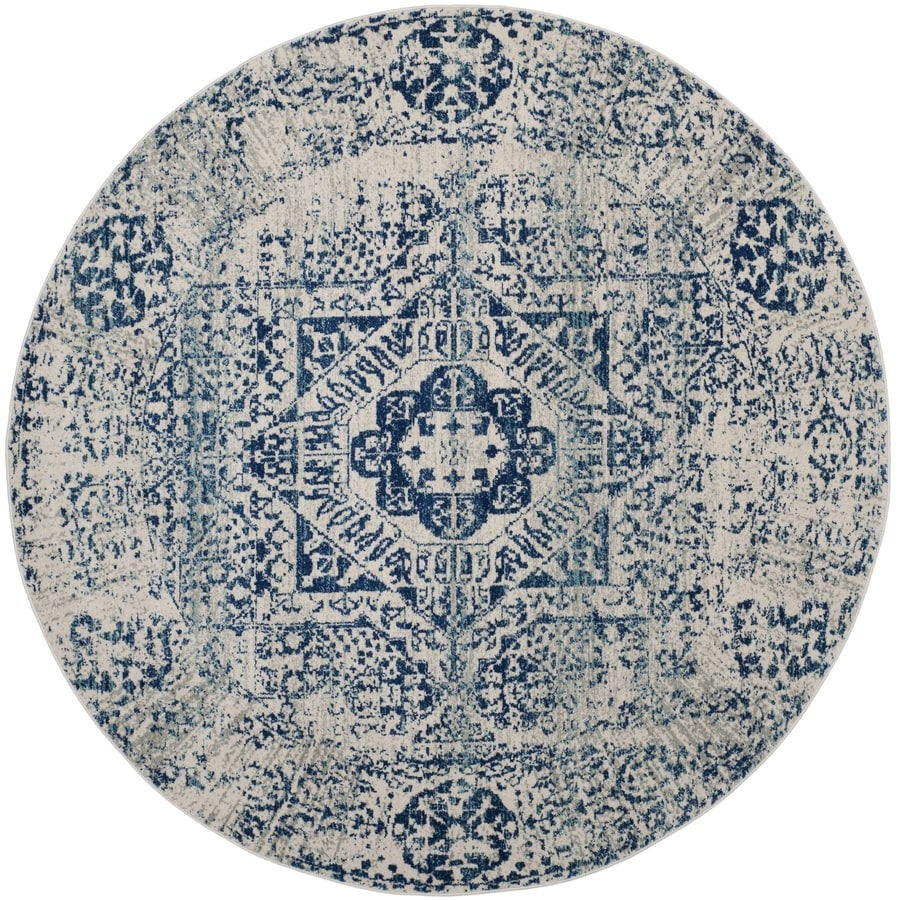 Safavieh Evoke Apipe Ivory/Blue Round Indoor Machine-Made Oriental Area Rug (Common: 6 x 6; Actual: 6.6-ft W x 6.6-ft L x 6.6-ft dia)