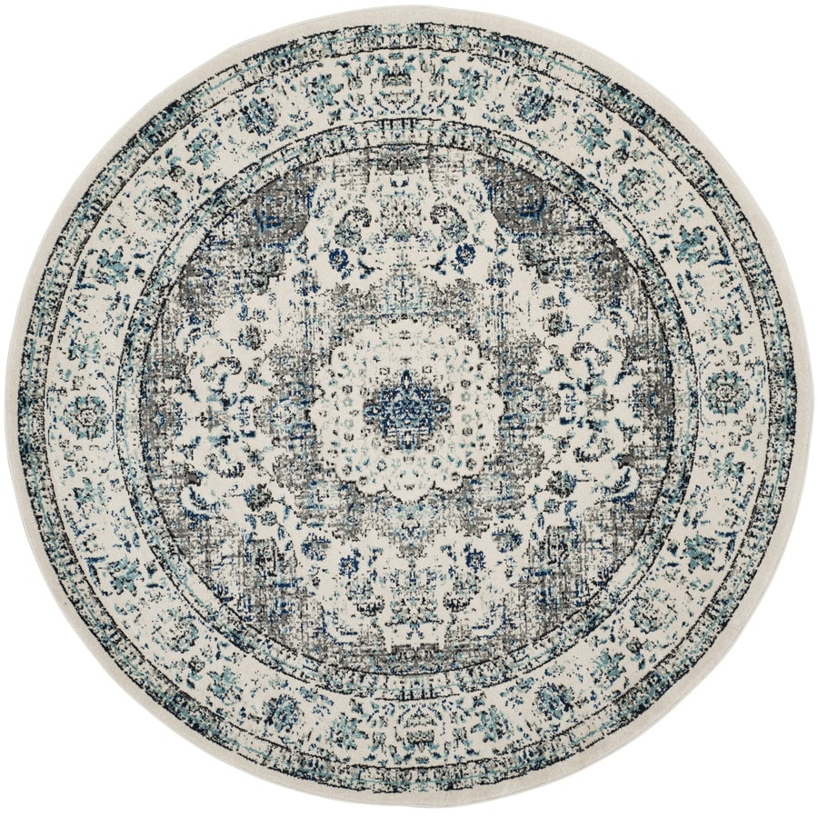 Safavieh Evoke Savoy Gray/Ivory Round Indoor Machine-Made Oriental Area Rug (Common: 5 x 5; Actual: 5.1-ft W x 5.1-ft L x 5.1-ft dia)