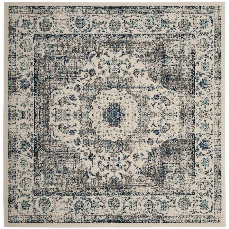Safavieh Evoke Savoy Gray/Ivory Square Indoor Oriental Area Rug (Common: 5 x 5; Actual: 5.1-ft W x 5.1-ft L)