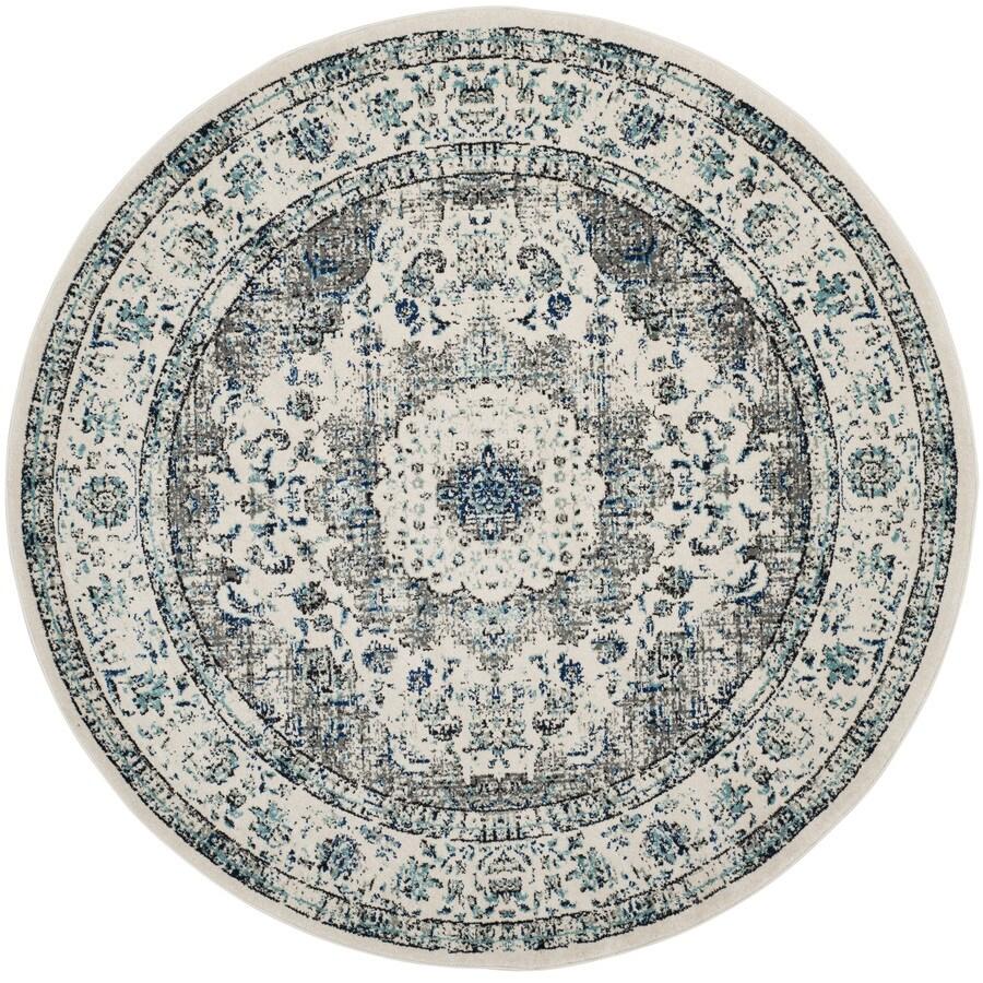 Safavieh Evoke Savoy Gray/Ivory Round Indoor Machine-Made Oriental Area Rug (Common: 9 x 9; Actual: 9-ft W x 9-ft L x 9-ft dia)