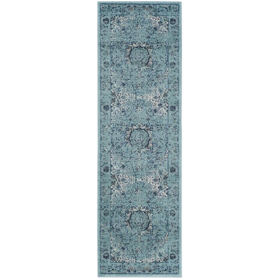 Safavieh Evoke Savoy Light Blue/Light Blue Indoor Oriental Runner (Common: 2 x 9; Actual: 2.2-ft W x 9-ft L)