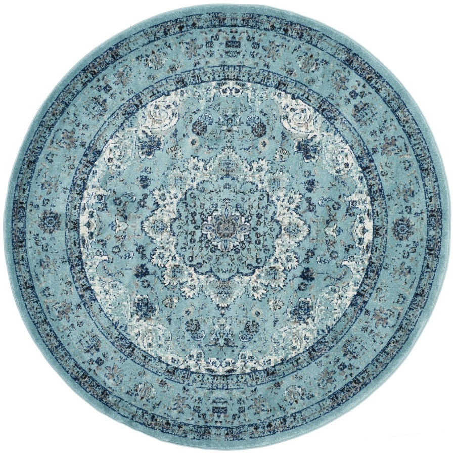 Safavieh Evoke Savoy Light Blue/Light Blue Round Indoor Machine-Made Oriental Area Rug (Common: 5 x 5; Actual: 5.1-ft W x 5.1-ft L x 5.1-ft dia)