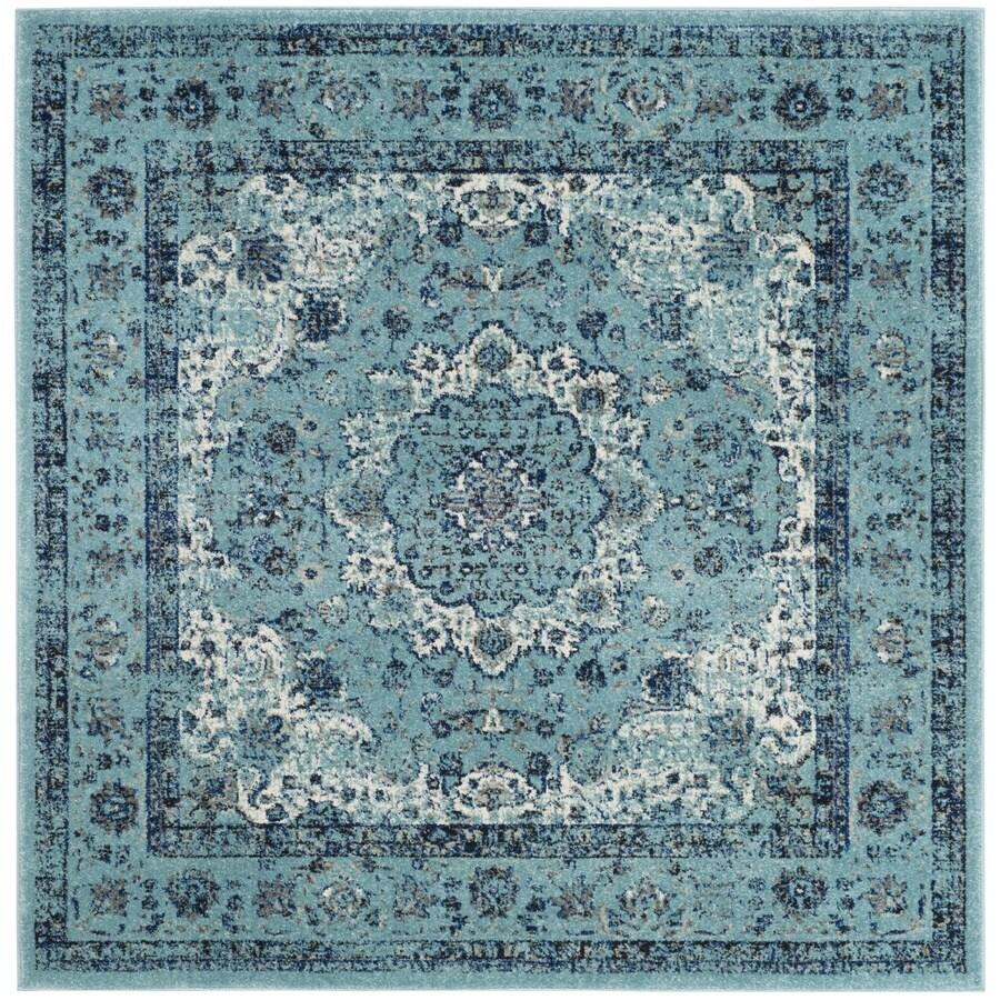 Safavieh Evoke Savoy Light Blue/Light Blue Square Indoor Machine-Made Oriental Area Rug (Common: 5 x 5; Actual: 5.1-ft W x 5.1-ft L)