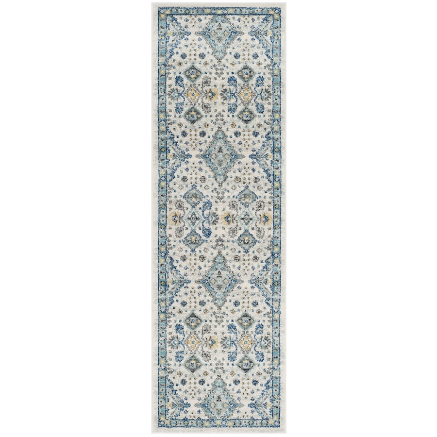 Safavieh Evoke Jaden Ivory/Light Blue Rectangular Indoor Machine-Made Oriental Runner (Common: 2 x 7; Actual: 2.2-ft W x 7-ft L)