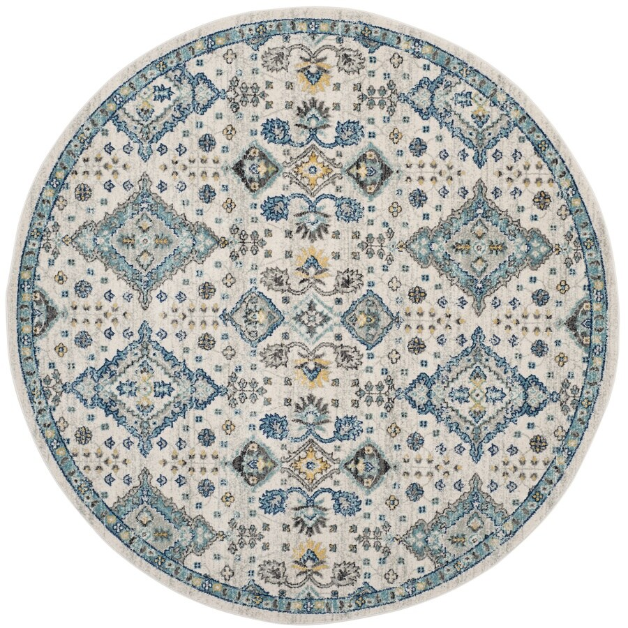 Safavieh Evoke Jaden Ivory/Light Blue Round Indoor Machine-Made Oriental Area Rug (Common: 6 x 6; Actual: 6.6-ft W x 6.6-ft L x 6.6-ft dia)