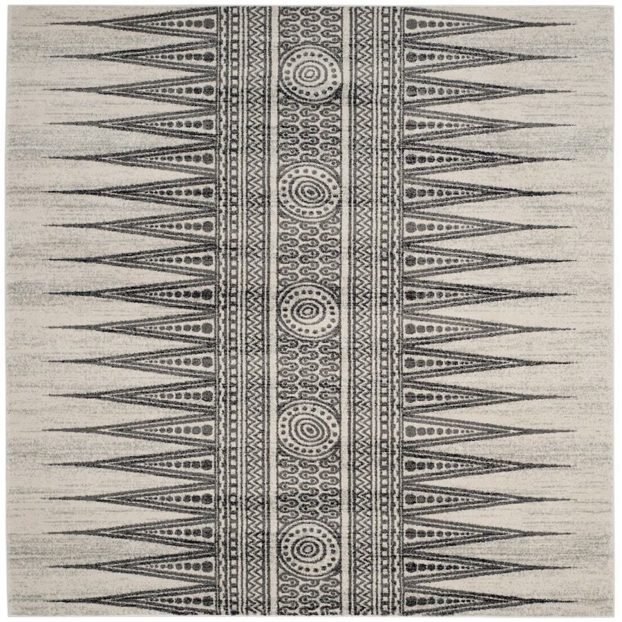 Safavieh Evoke Layla Ivory/Gray Square Indoor Oriental Area Rug (Common: 7 x 7; Actual: 6.7-ft W x 6.6-ft L)