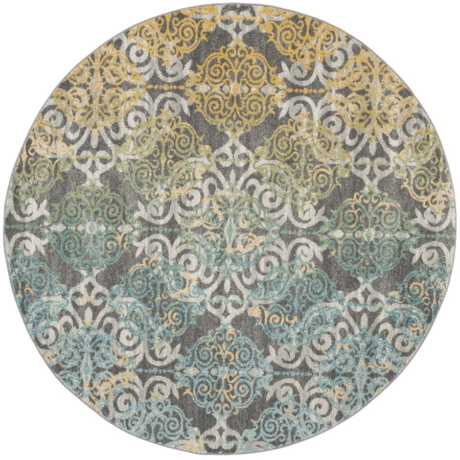 Safavieh Evoke Rigby Gray Round Indoor Oriental Area Rug (Common: 7 x 7; Actual: 6.7-ft W x 6.6-ft L x 6.6-ft dia)