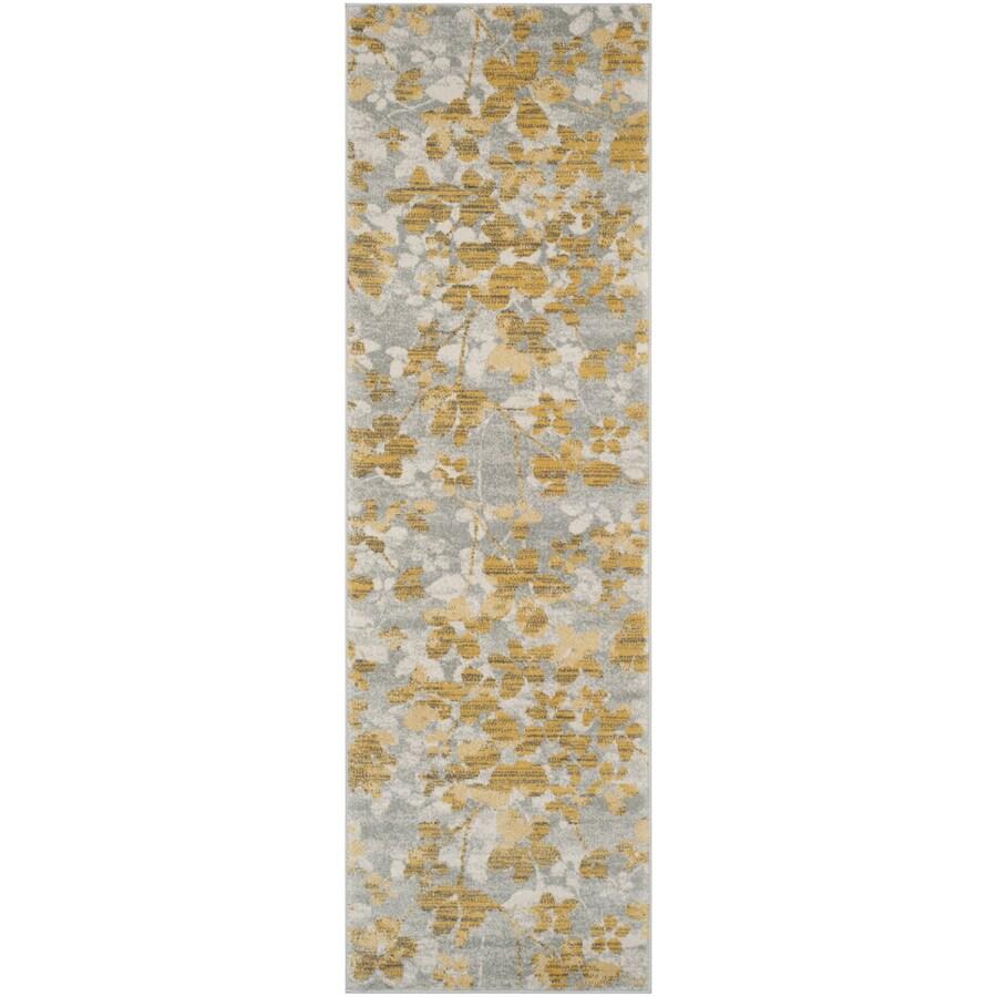 Safavieh Evoke Maxwell Gray/Gold Rectangular Indoor Machine-Made Oriental Runner (Common: 2 x 7; Actual: 2.2-ft W x 7-ft L)