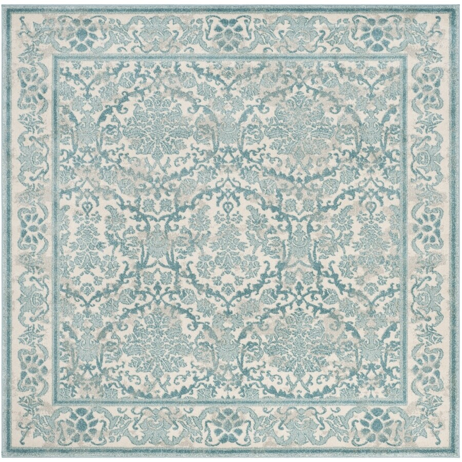 Safavieh Evoke Penny Ivory/Light Blue Square Indoor Machine-Made Oriental Area Rug (Common: 7 x 7; Actual: 6.6-ft W x 6.6-ft L)