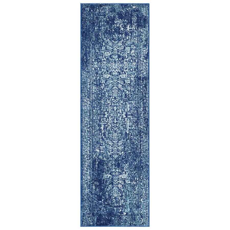 Safavieh Evoke Isla Navy/Ivory Rectangular Indoor Machine-Made Oriental Runner (Common: 2 x 11; Actual: 2.2-ft W x 11-ft L)
