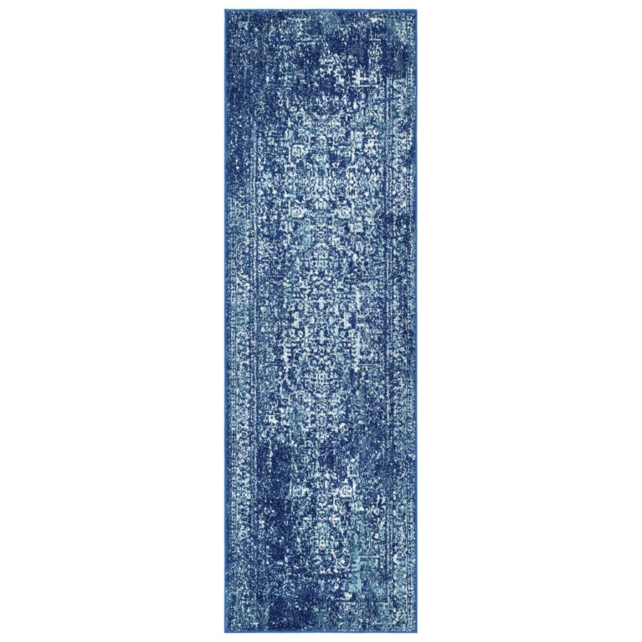 Safavieh Evoke Isla Navy/Ivory Rectangular Indoor Machine-Made Oriental Runner (Common: 2 x 9; Actual: 2.2-ft W x 9-ft L)