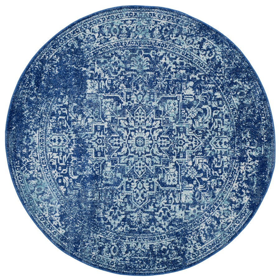 Safavieh Evoke Isla Navy/Ivory Round Indoor Machine-Made Oriental Area Rug (Common: 6 x 6; Actual: 6.6-ft W x 6.6-ft L x 6.6-ft dia)