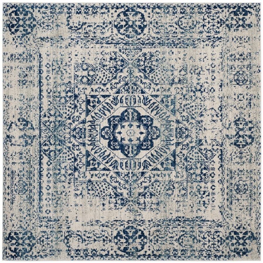 Safavieh Evoke Apipe Ivory/Blue Square Indoor Oriental Area Rug (Common: 7 x 7; Actual: 6.7-ft W x 6.6-ft L)