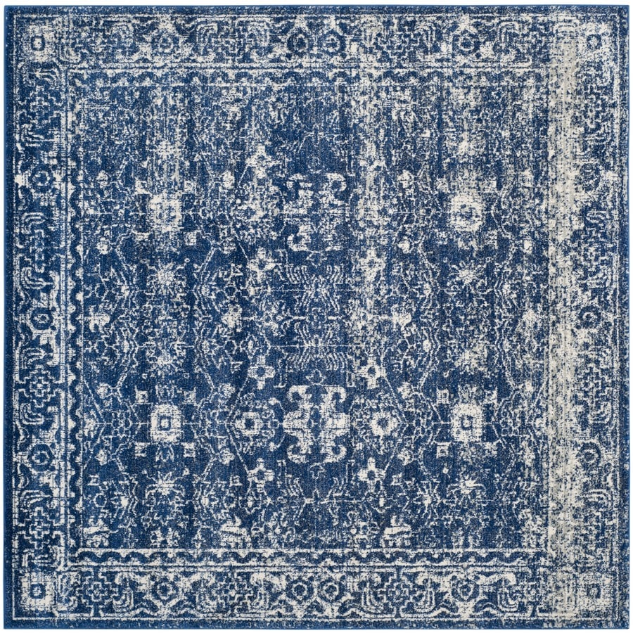 Safavieh Evoke Likoma Navy/Ivory Square Indoor Machine-Made Oriental Area Rug (Common: 6 x 6; Actual: 6.6-ft W x 6.6-ft L)