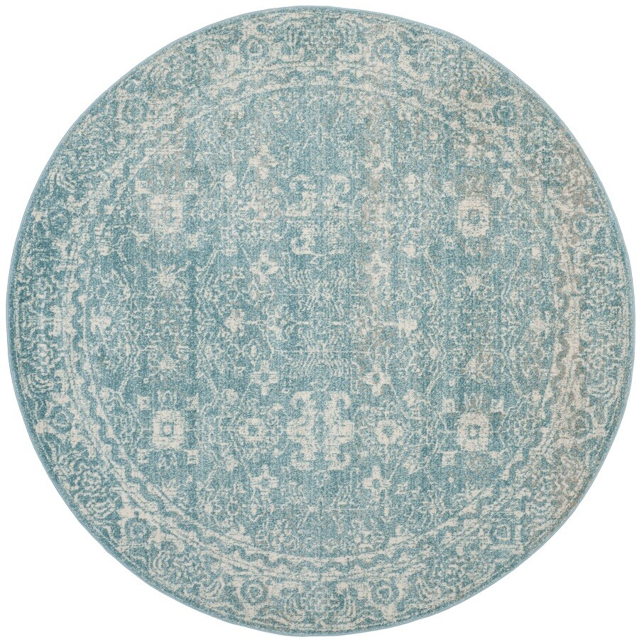Safavieh Evoke Likoma Light Blue/Ivory Round Indoor Machine-Made Oriental Area Rug (Common: 6 x 6; Actual: 6.6-ft W x 6.6-ft L x 6.6-ft dia)