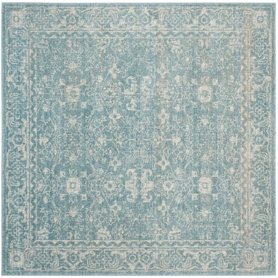 Safavieh Evoke Likoma Light Blue/Ivory Square Indoor Machine-Made Oriental Area Rug (Common: 6 x 6; Actual: 6.6-ft W x 6.6-ft L)