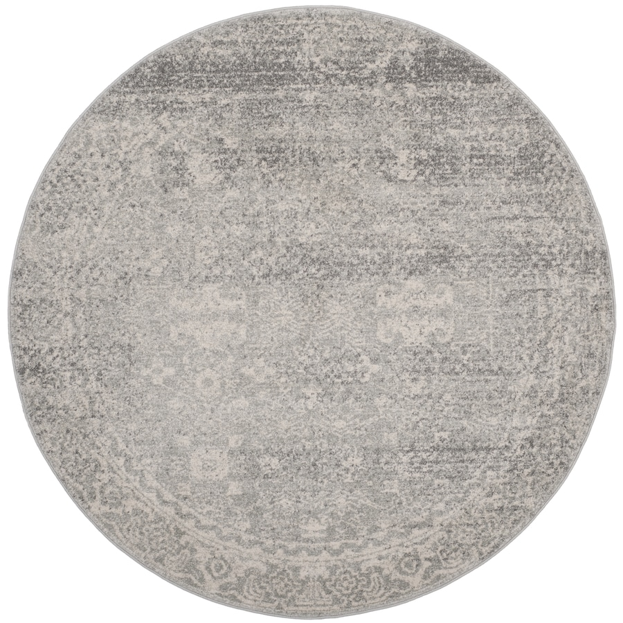 Safavieh Evoke Likoma Silver/Ivory Round Indoor Oriental Area Rug (Common: 7 x 7; Actual: 6.7-ft W x 6.6-ft L x 6.6-ft dia)