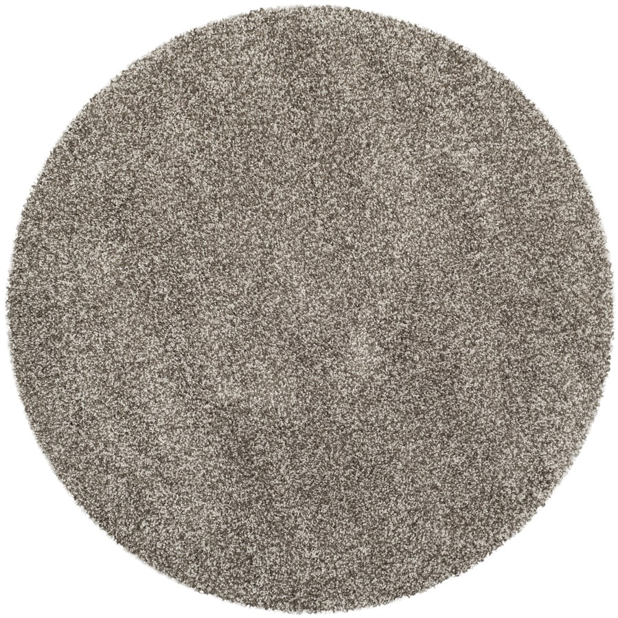 Safavieh Milan Shag Gray Round Indoor Throw Rug (Common: 3 x 3; Actual: 3-ft W x 3-ft L x 3-ft dia)