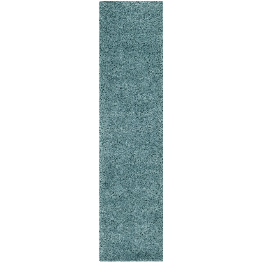 Safavieh Milan Shag Aqua Blue Rectangular Indoor Runner (Common: 2 x 12; Actual: 2-ft W x 12-ft L)