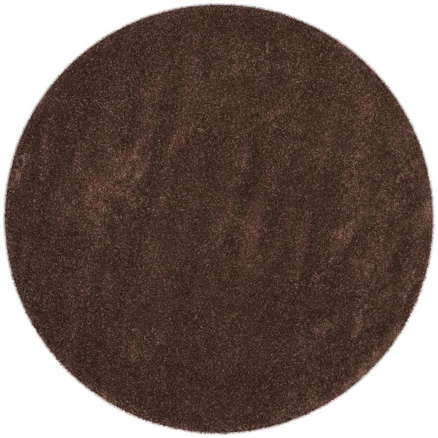 Safavieh Milan Shag Brown Round Indoor Throw Rug (Common: 3 x 3; Actual: 3-ft W x 3-ft L x 3-ft dia)