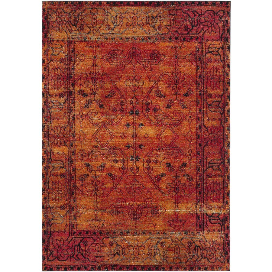Safavieh Vintage Hamadan Sarouk Orange Indoor Lodge Area Rug (Common: 9 x 12; Actual: 9-ft W x 12-ft L)