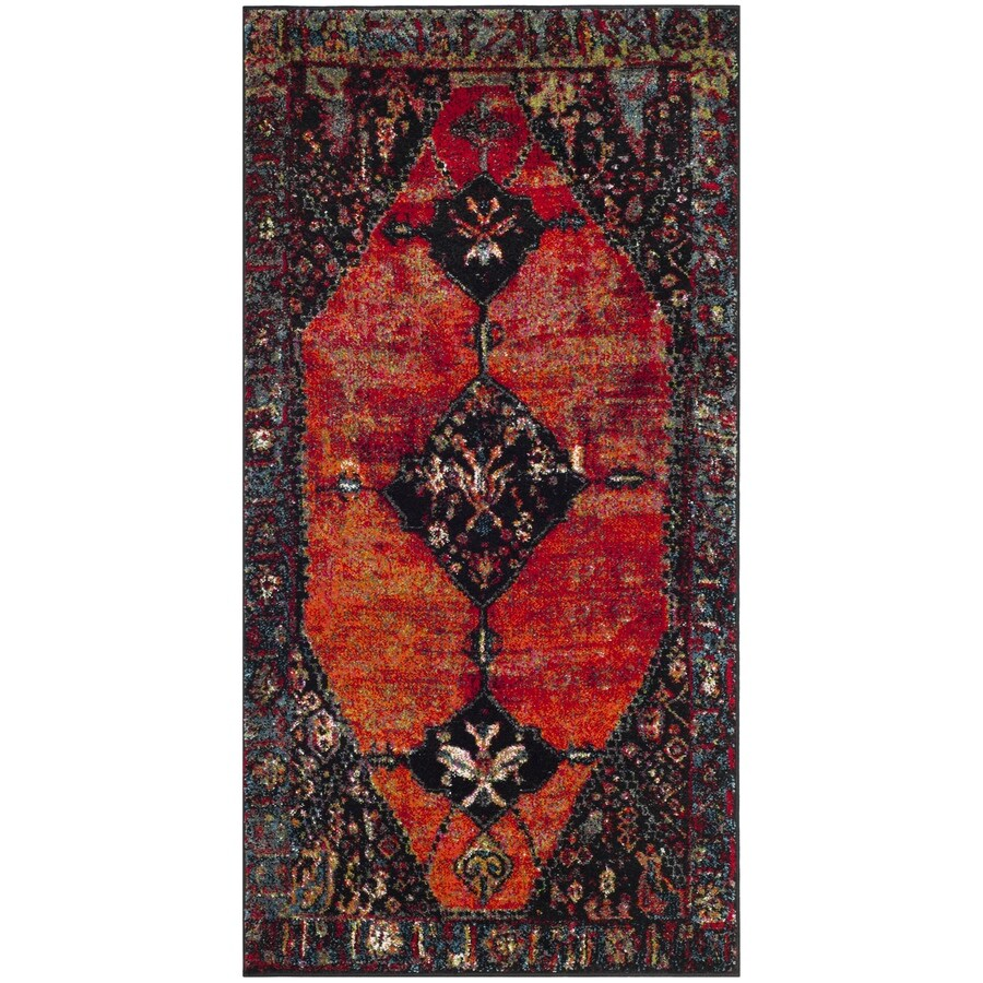 Safavieh Vintage Hamadan Bidjar Orange/Multi Indoor Lodge Throw Rug (Common: 3 x 5; Actual: 2.6-ft W x 5-ft L)