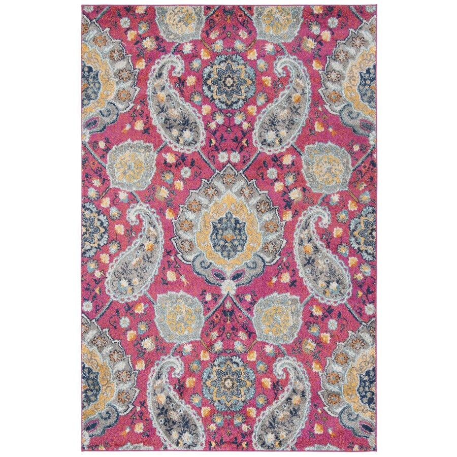 Safavieh Madison Abbey Fuchsia/Gold Indoor Lodge Area Rug (Common: 5 x 8; Actual: 5.1-ft W x 7.5-ft L)