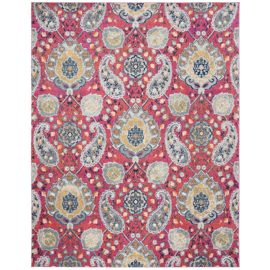 Safavieh Madison Abbey Fuchsia/Gold Indoor Lodge Area Rug (Common: 9 x 12; Actual: 9-ft W x 12-ft L)