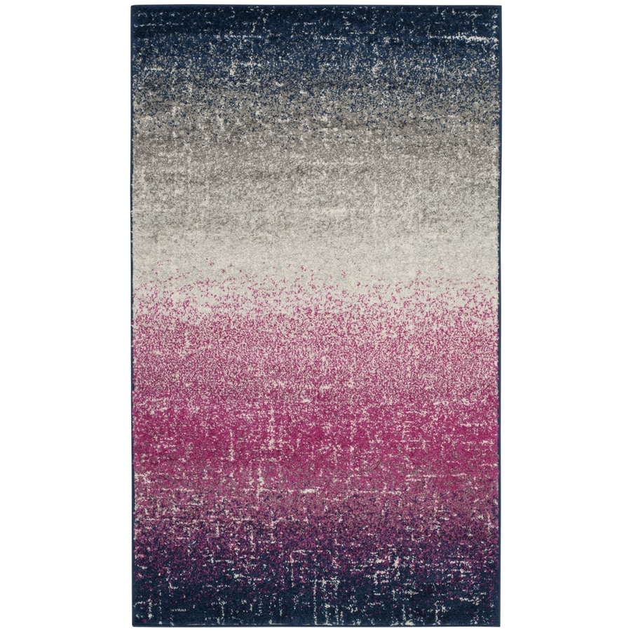 Safavieh Madison Humber Fuchsia/Navy Rectangular Indoor Machine-Made Lodge Throw Rug (Common: 3 x 5; Actual: 3-ft W x 5-ft L)