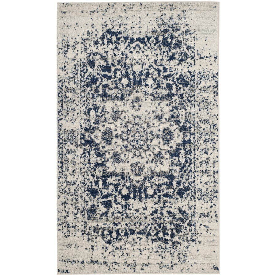 Safavieh Madison Nord Cream/Navy Indoor Distressed Throw Rug (Common: 3 x 5; Actual: 3-ft W x 5-ft L)