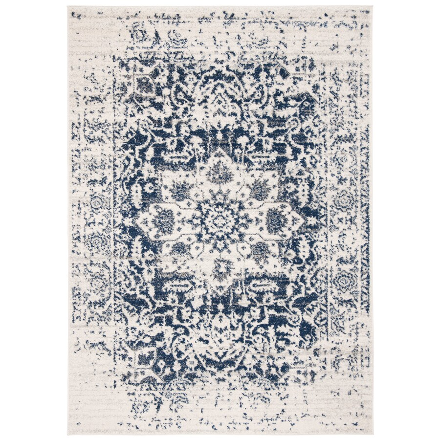 Safavieh Madison Nord Cream/Navy Indoor Distressed Area Rug (Common: 7 x 9; Actual: 6.7-ft W x 9.2-ft L)