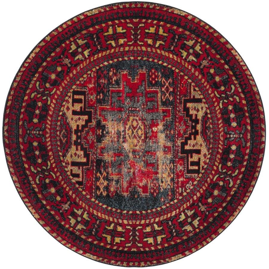 Safavieh Vintage Hamadan Kazak Red/Multi Round Indoor Lodge Area Rug (Common: 7 x 7; Actual: 6.7-ft W x 6.6-ft L x 6.6-ft dia)