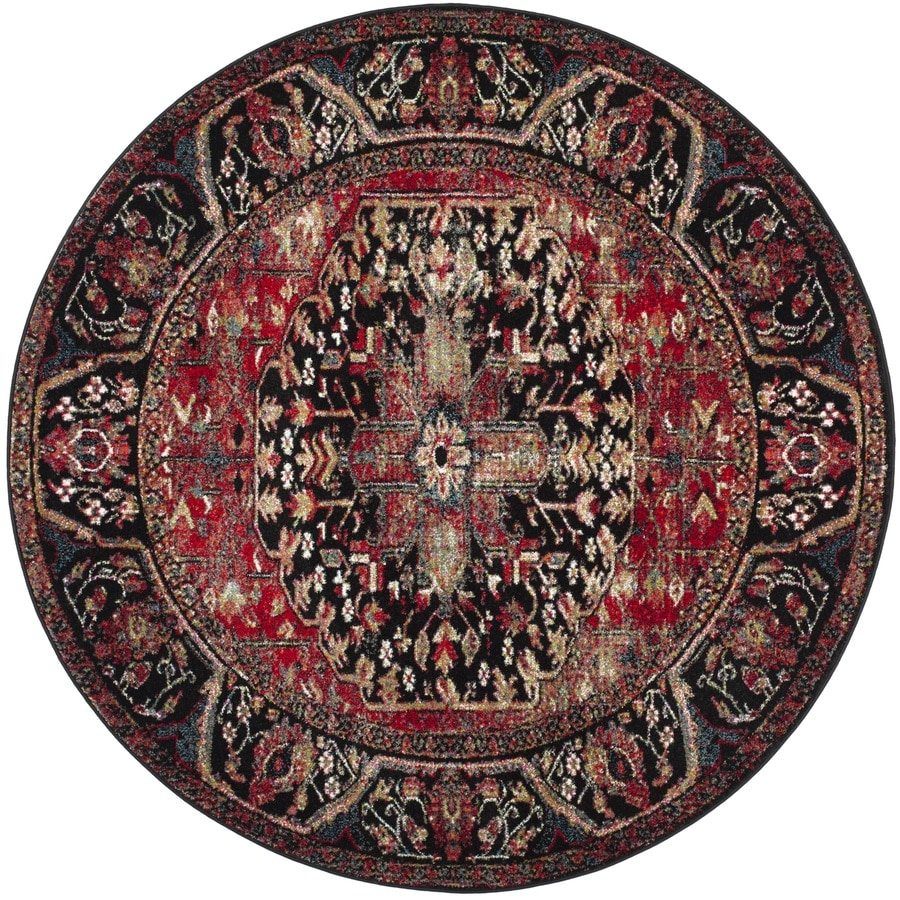 Vintage Looking Area Rugs: Safavieh Vintage Hamadan Mahal Red Round Indoor Lodge Area