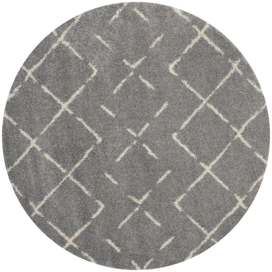 Safavieh Arizona Myra Gray/Ivory Round Indoor Area Rug (Common: 7 x 7; Actual: 6.7-ft W x 6.6-ft L x 6.6-ft dia)
