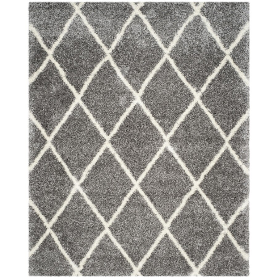 Safavieh Montreal Laval Shag Gray/Ivory Rectangular Indoor Area Rug (Common: 7 x 10; Actual: 6.6-ft W x 9.5-ft L)