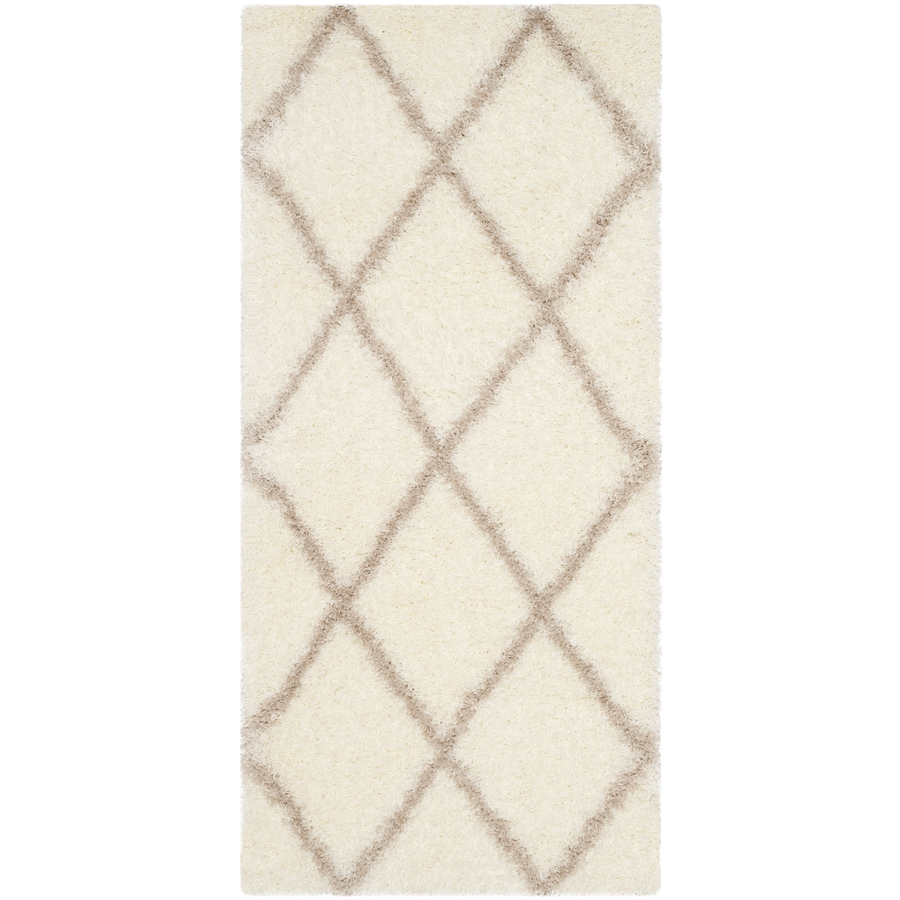 Safavieh Montreal Laval Shag Ivory/Beige Indoor Runner (Common: 2 x 5; Actual: 2.3-ft W x 5-ft L)
