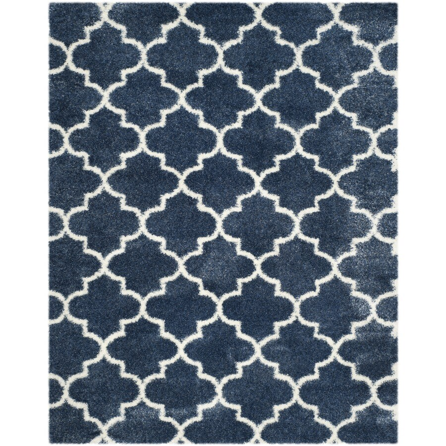 Safavieh Montreal Mirabel Shag Blue/Ivory Rectangular Indoor Area Rug (Common: 9 x 12; Actual: 8.5-ft W x 12-ft L)
