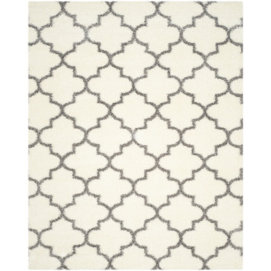 Safavieh Montreal Mirabel Shag Ivory/Gray Rectangular Indoor Area Rug (Common: 9 x 12; Actual: 8.5-ft W x 12-ft L)
