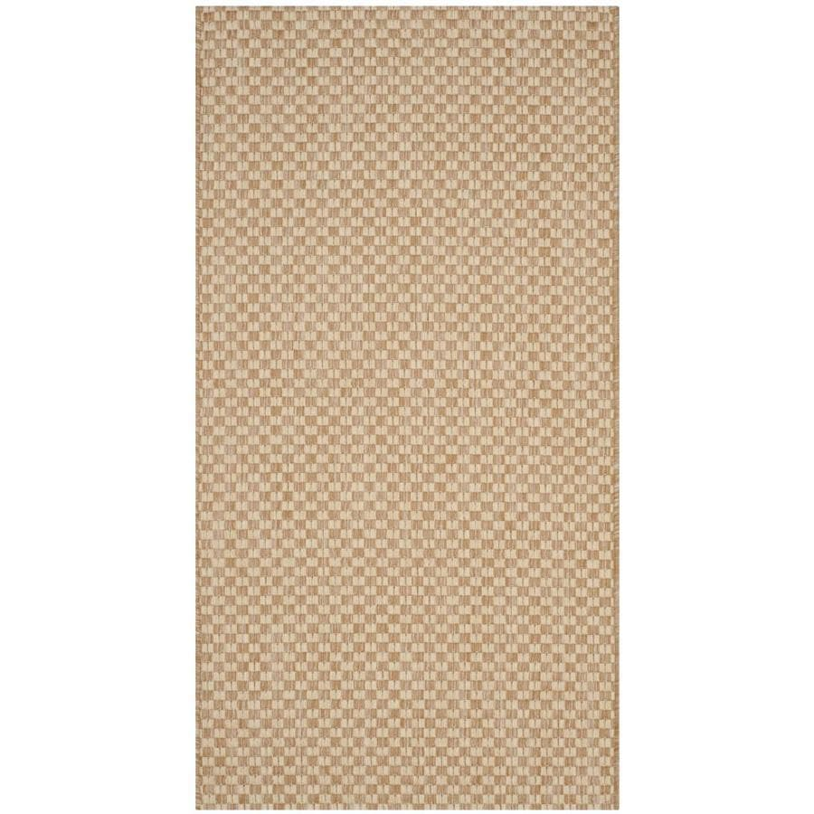 Safavieh Courtyard Salvador Natural/Cream Rectangular Indoor/Outdoor Machine-made Coastal Throw Rug (Common: 2 x 5; Actual: 2.58-ft W x 5-ft L)