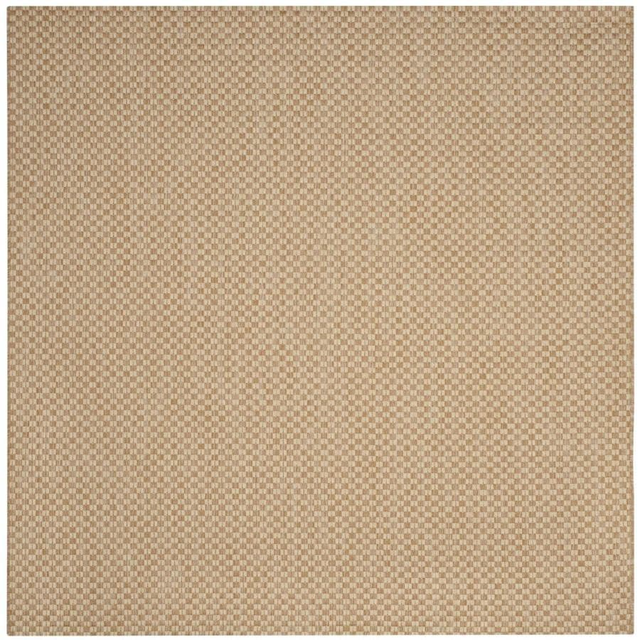 Safavieh Courtyard Salvador Natural/Cream Square Indoor/Outdoor Machine-made Coastal Area Rug (Common: 6 x 6; Actual: 6.58-ft W x 6.58-ft L)
