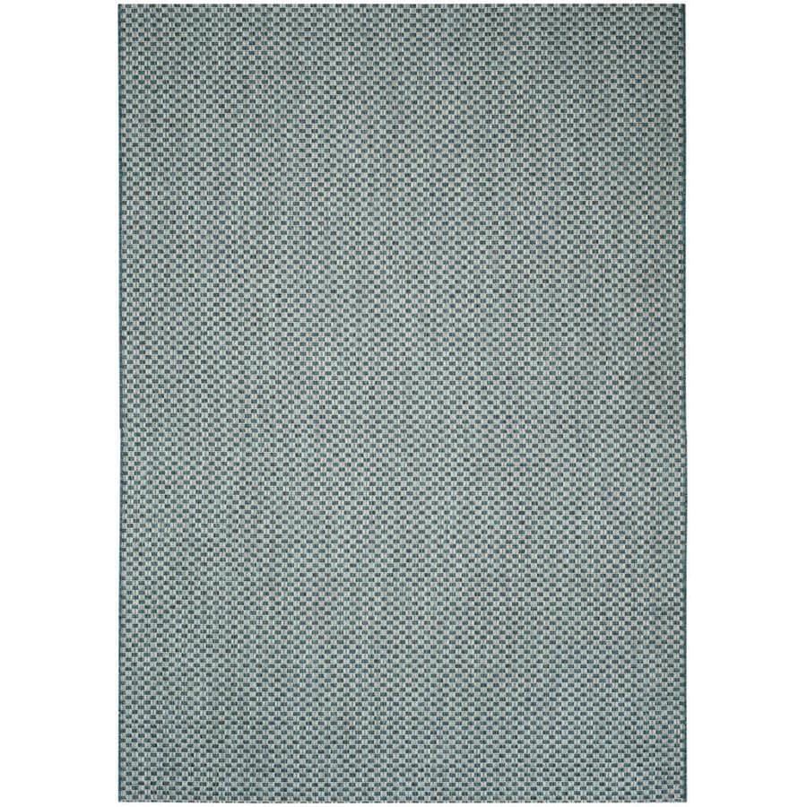 Safavieh Courtyard Salvador Turquoise/Light Gray Rectangular Indoor/Outdoor Machine-made Coastal Area Rug (Common: 4 x 5; Actual: 4-ft W x 5.58-ft L)