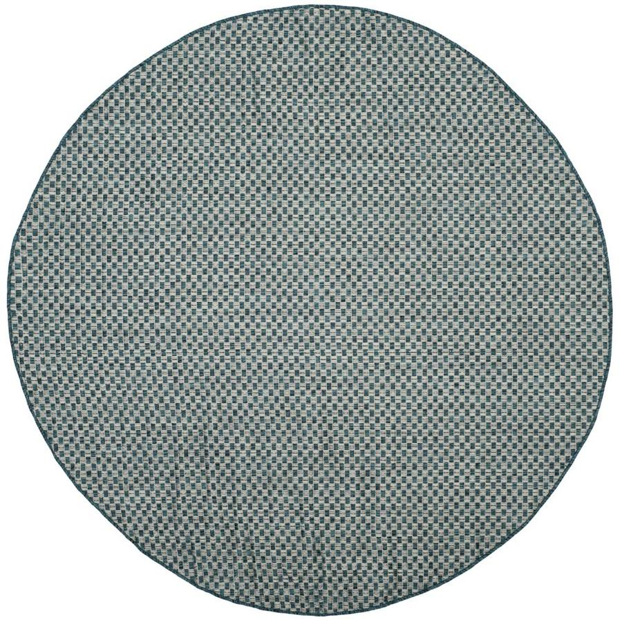 Safavieh Courtyard Salvador Turquoise/Light Gray Round Indoor/Outdoor Machine-made Coastal Area Rug (Common: 6 x 6; Actual: 6.58-ft W x 6.58-ft L x 6.58-ft Dia)
