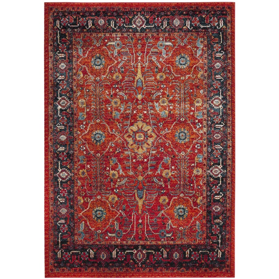 Safavieh Vintage Hamadan Sultan Orange/Navy Indoor Lodge Area Rug (Common: 4 x 6; Actual: 4-ft W x 6-ft L)