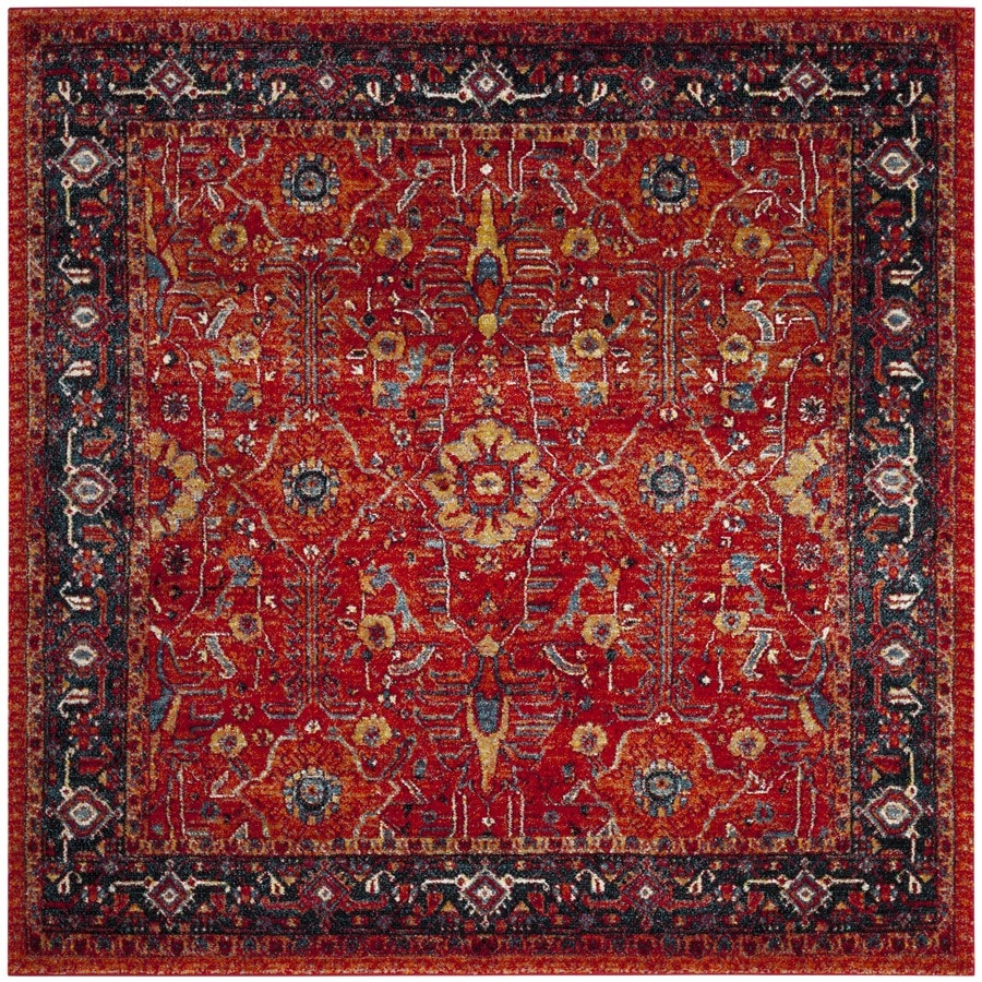 Safavieh Vintage Hamadan Sultan Orange/Navy Square Indoor Lodge Area Rug (Common: 7 x 7; Actual: 6.6-ft W x 6.6-ft L)