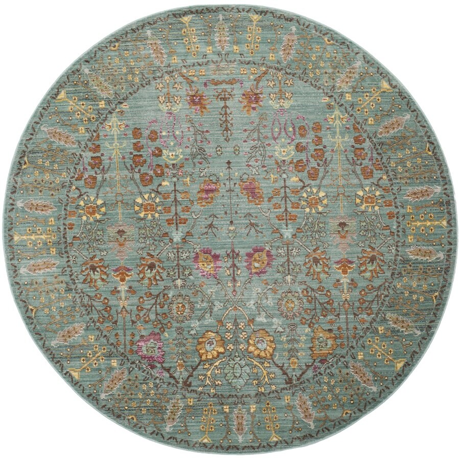 Safavieh Valencia Odessa 7 X 7 Steel Blue Round Floral Botanical Global Area Rug In The Rugs Department At Lowes Com